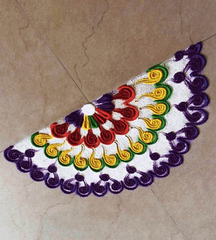 Appealing Half Circle Rangoli