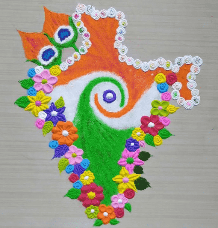 Delicate Independence Day Rangoli