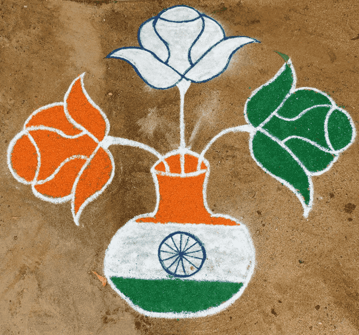 Easy Independence Day Rangoli