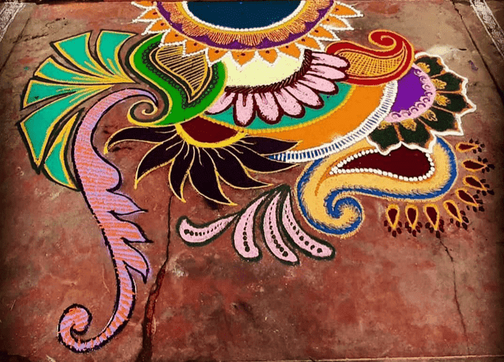 Admirable Mithuna Sankranti Rangoli Design