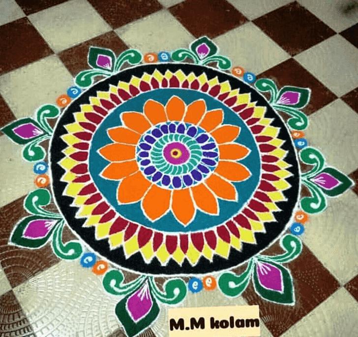Pleasing Mokshda Ekadashi Rangoli