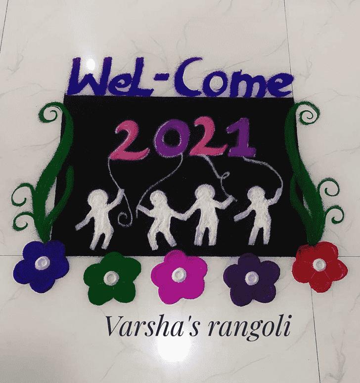 Angelic New Year Rangoli