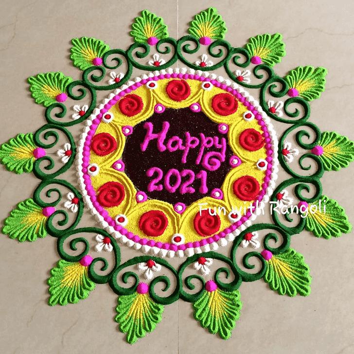 Appealing New Year Rangoli