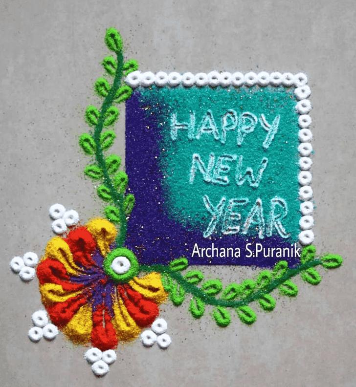 Charming New Year Rangoli