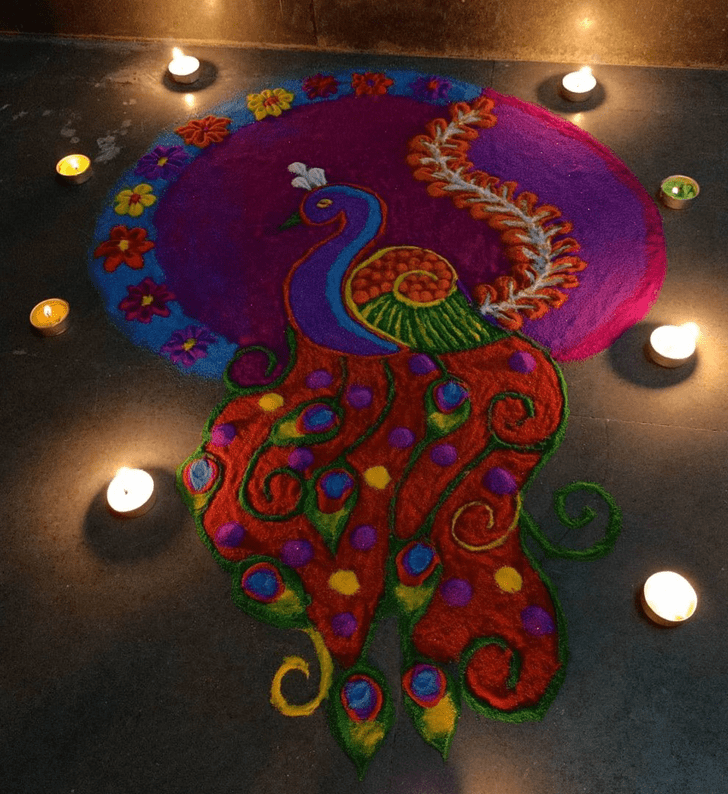 Admirable Peacock Rangoli Design