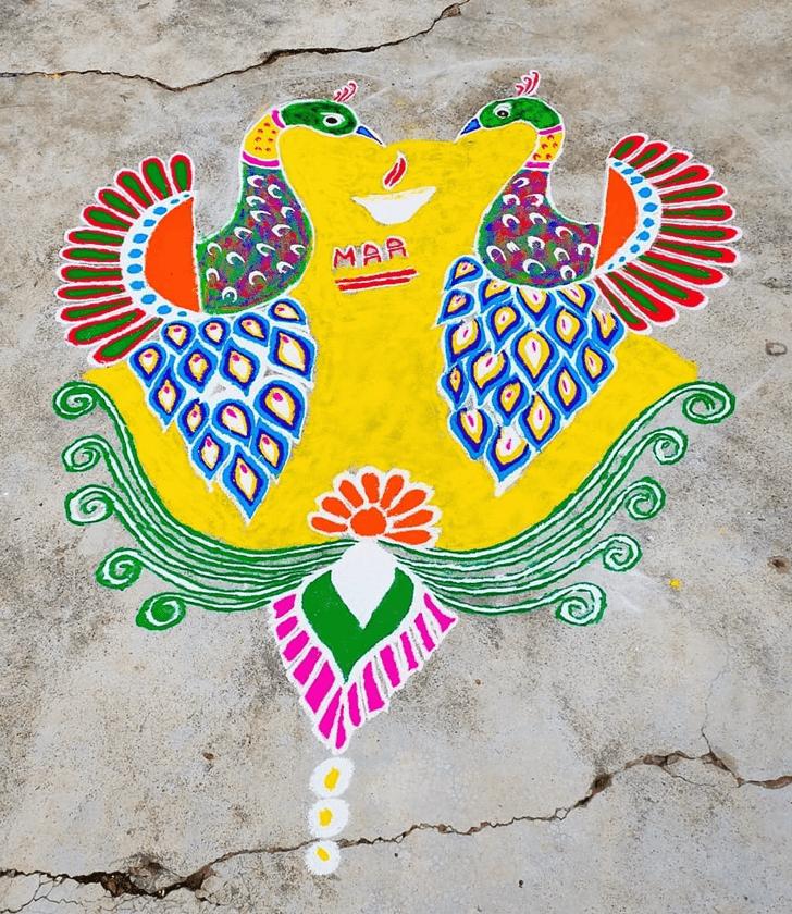 Adorable Peacock Rangoli