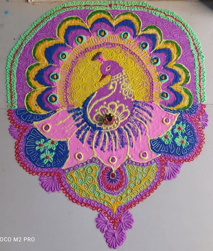 Appealing Peacock Rangoli