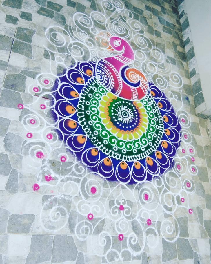 Beauteous Peacock Rangoli