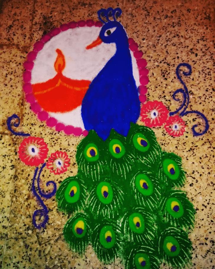 Bewitching Peacock Rangoli
