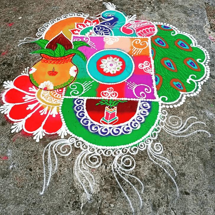 Charming Peacock Rangoli