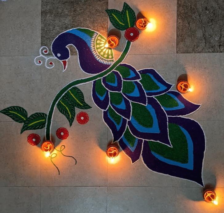 Classy Peacock Rangoli