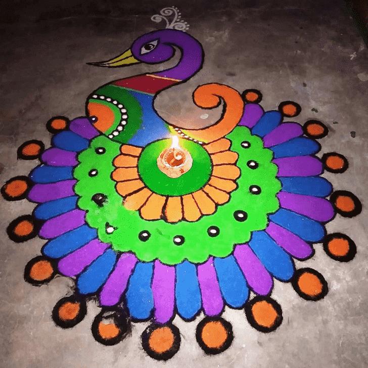 Amazing Peafowl Rangoli
