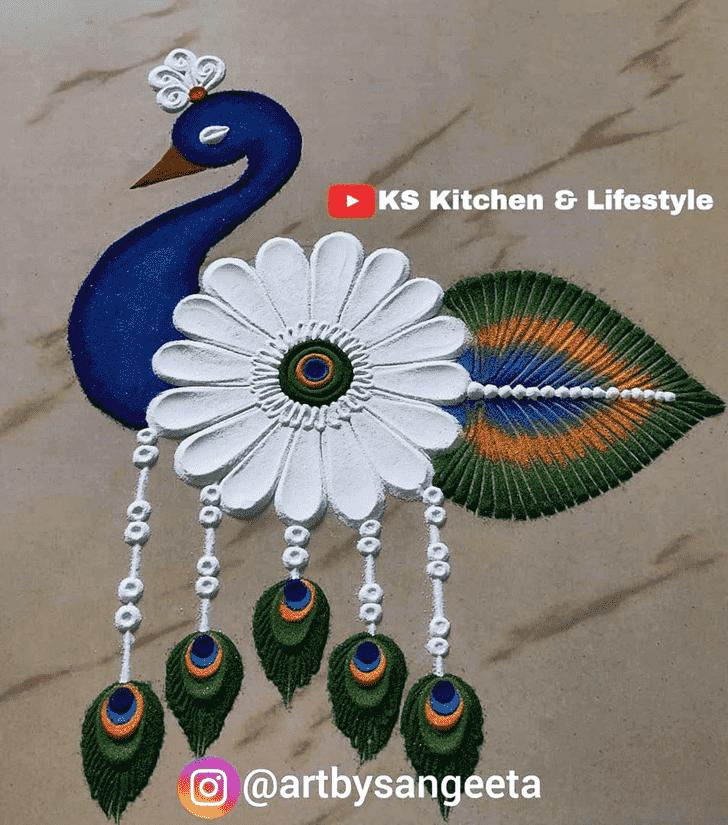 Alluring Peafowl Rangoli