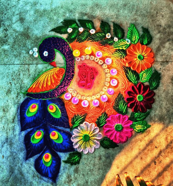 Angelic Peafowl Rangoli