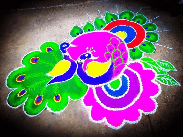 Appealing Peafowl Rangoli
