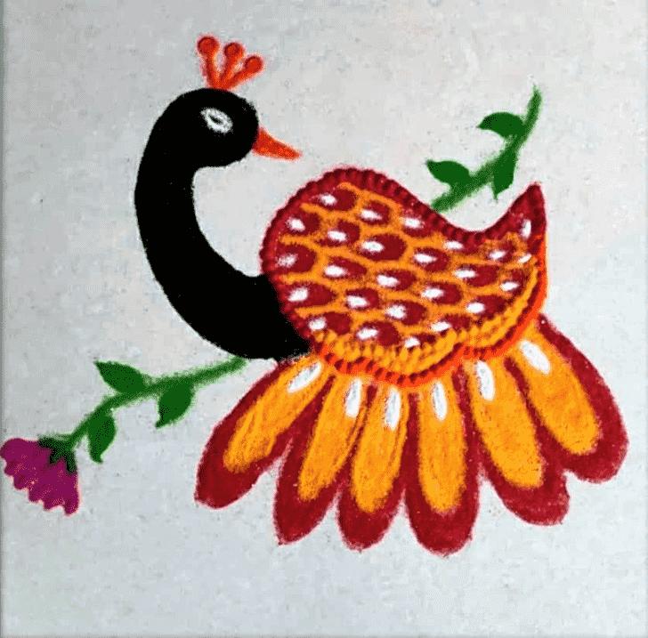 Captivating Peafowl Rangoli