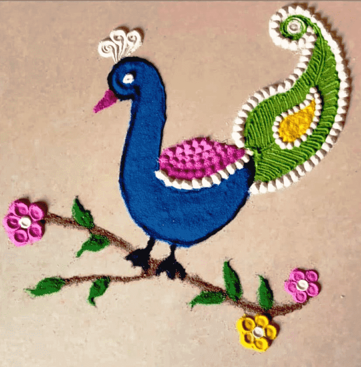 Charming Peafowl Rangoli