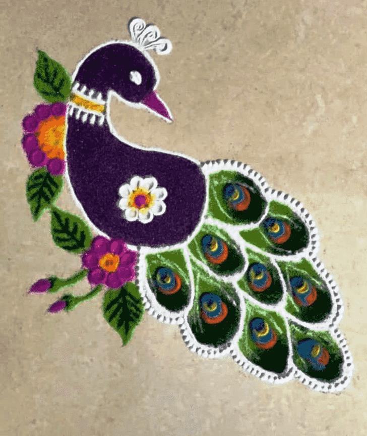 Classy Peafowl Rangoli