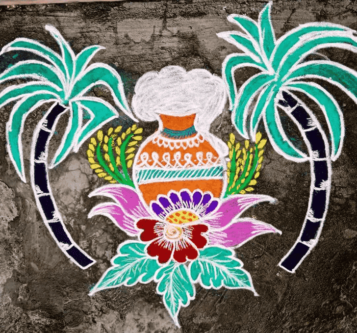 Admirable Pongal Kolam Rangoli Design