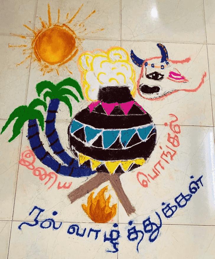 Alluring Pongal Kolam Rangoli