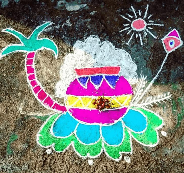 Appealing Pongal Kolam Rangoli
