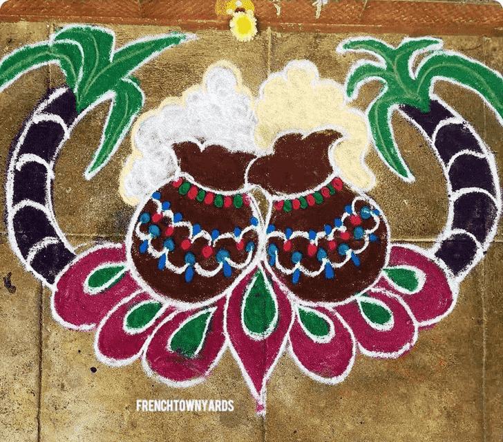 Charming Pongal Kolam Rangoli