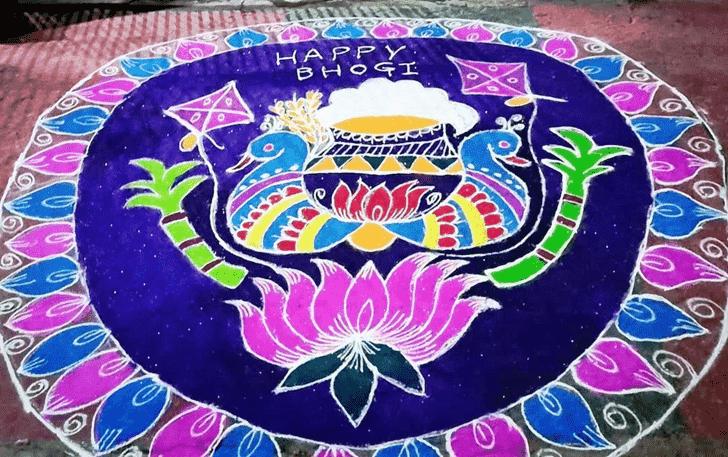 Admirable Pongal Rangoli Design