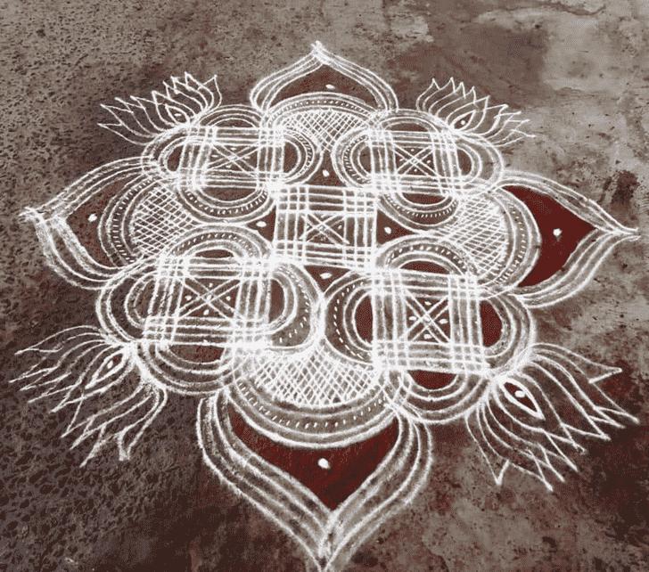 Alluring Radha Ashtami Rangoli