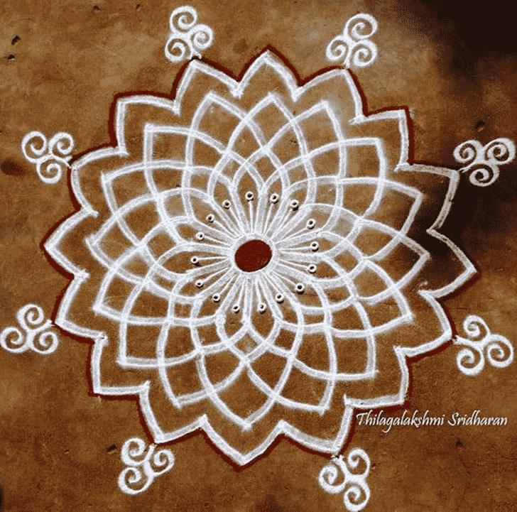 Admirable Red and White Rangoli Design