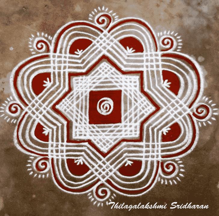 Amazing Red and White Rangoli