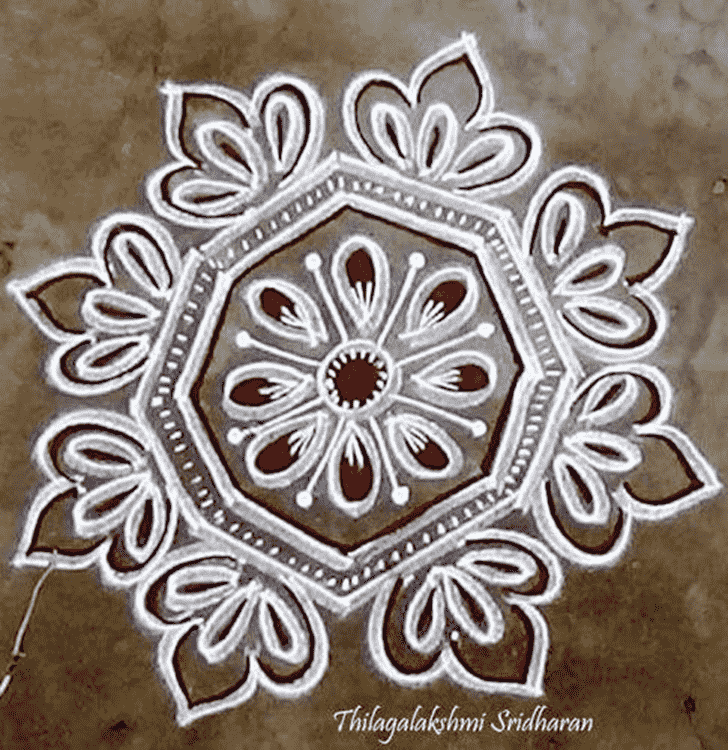Appealing Red and White Rangoli