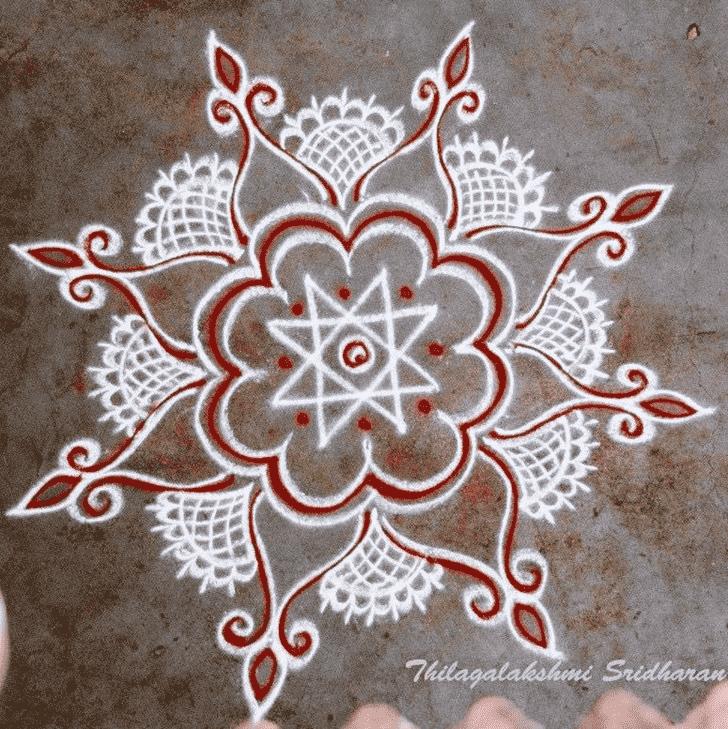 Beauteous Red and White Rangoli