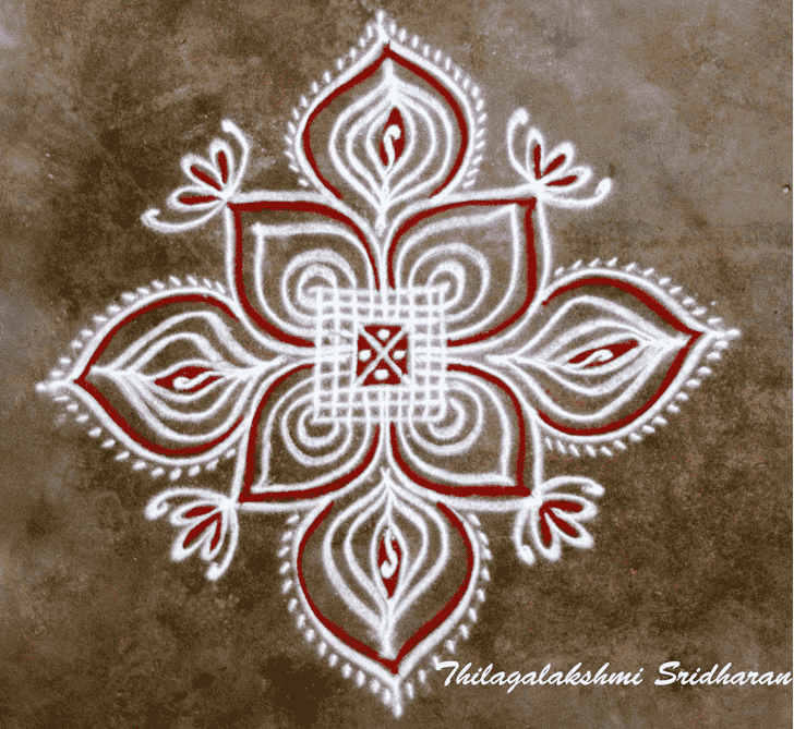 Bewitching Red and White Rangoli