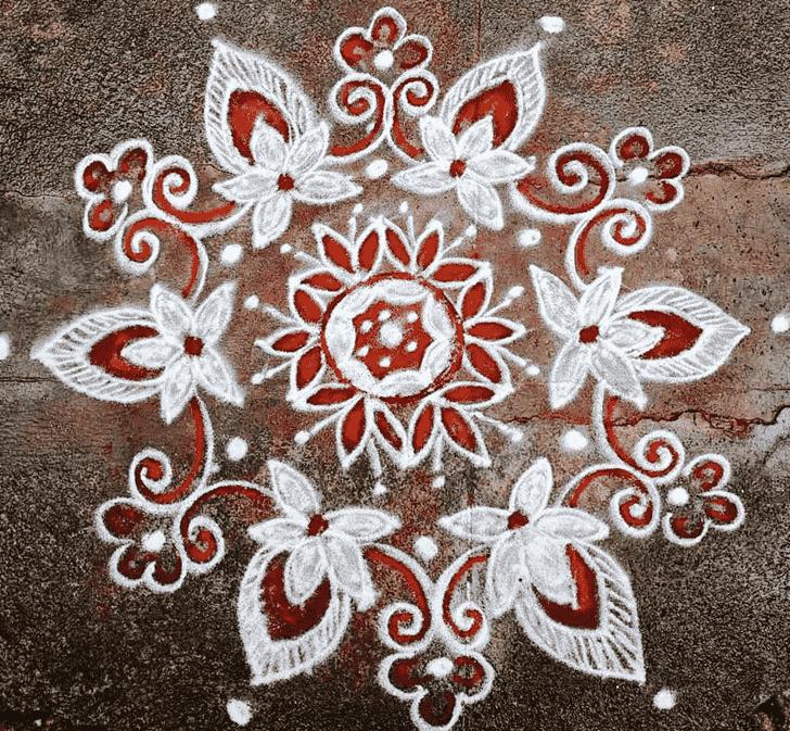 Charming Red and White Rangoli