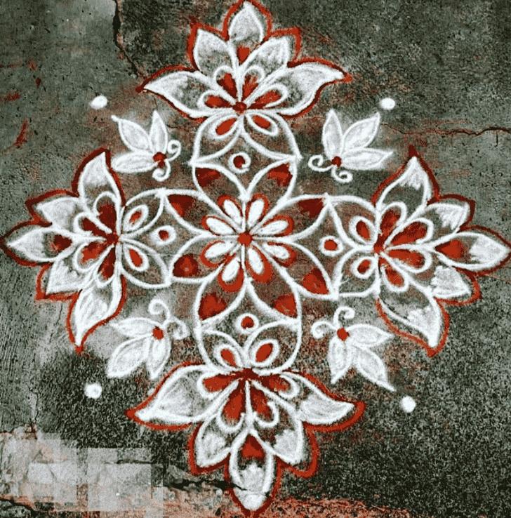 Classy Red and White Rangoli