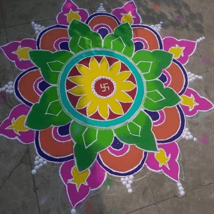 Admirable Sheetala Ashtami Rangoli Design