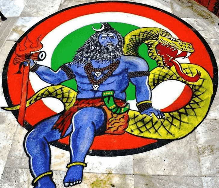 Admirable Shiva Rangoli Design