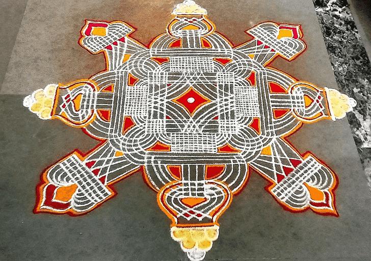 Delicate Somvati Amavasya Rangoli