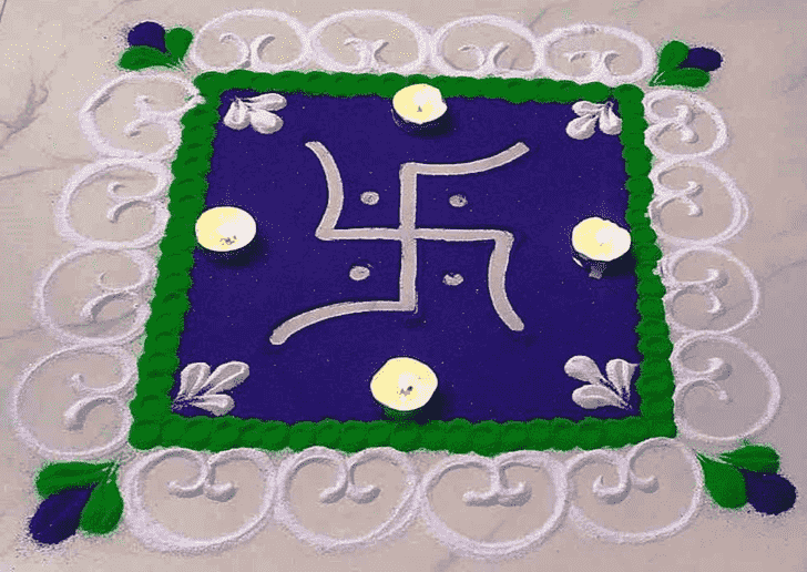 Admirable Swastik Rangoli Design