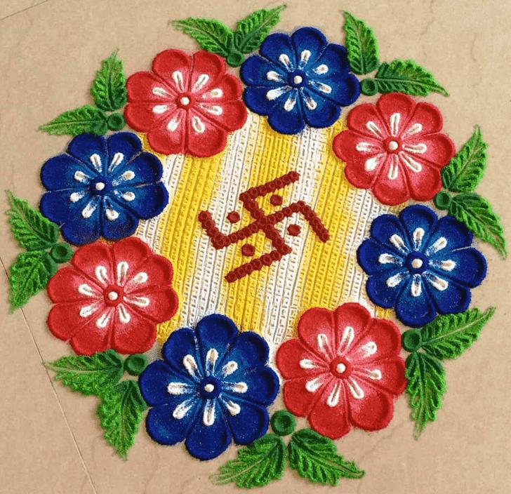 Amazing Swastik Rangoli