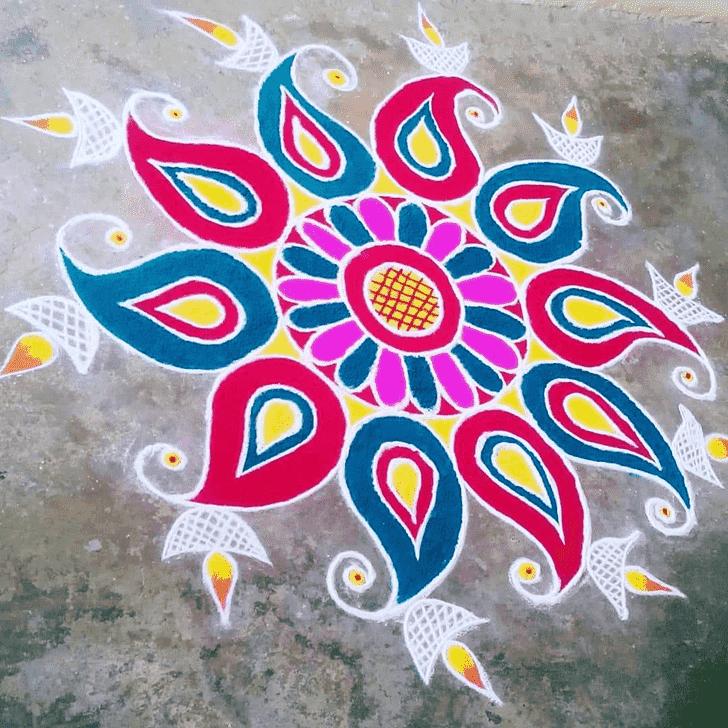 Dazzling Varalakshmi Pooja Rangoli