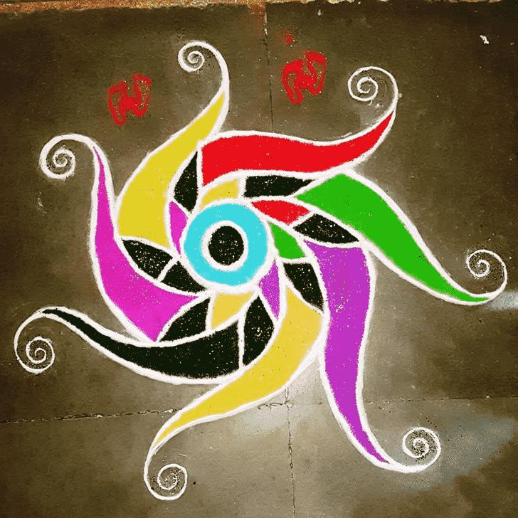Appealing Vishwakarma Puja Rangoli