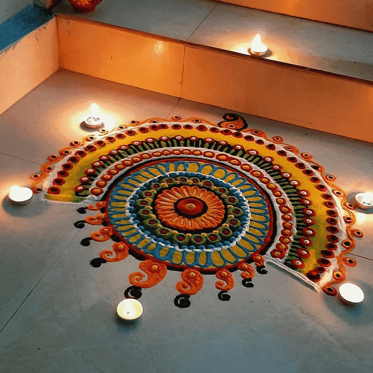 Admirable Yamuna Chhath Rangoli Design