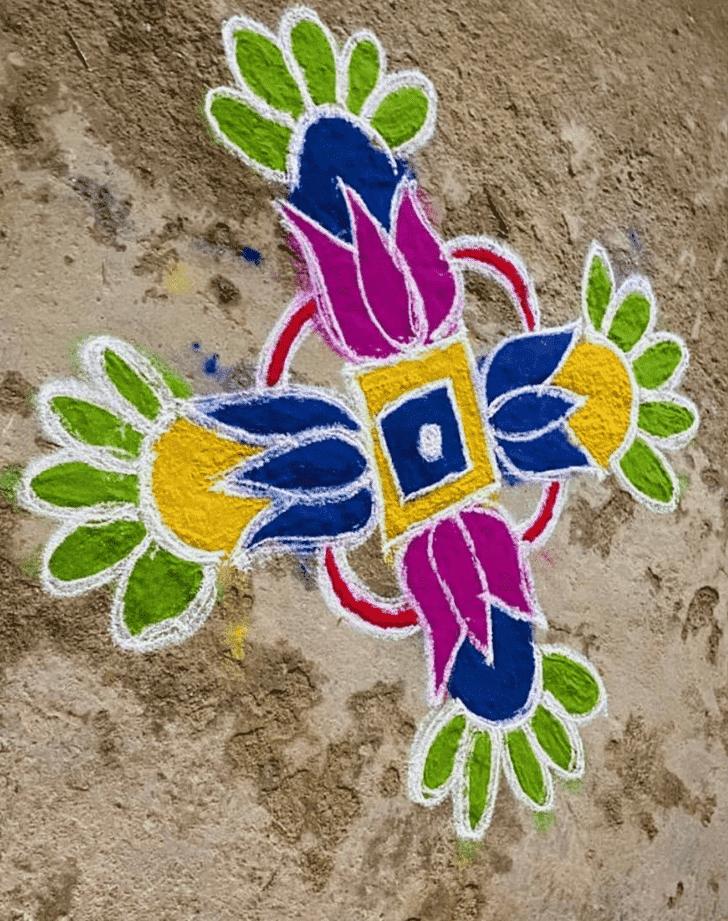 Adorable Yamuna Chhath Rangoli