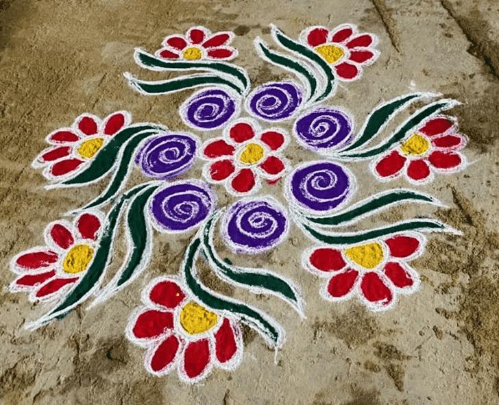 Appealing Yamuna Chhath Rangoli