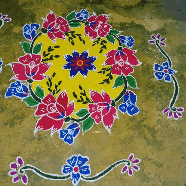 Bewitching Yamuna Chhath Rangoli