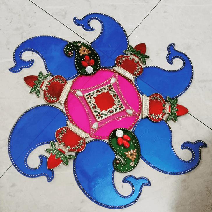 Charming Yamuna Chhath Rangoli