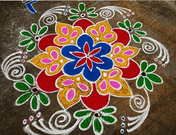 Dazzling Yamuna Chhath Rangoli