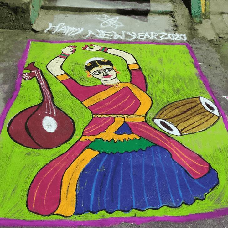 Elegant Yamuna Chhath Rangoli