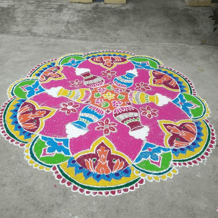 Enthralling Yamuna Chhath Rangoli